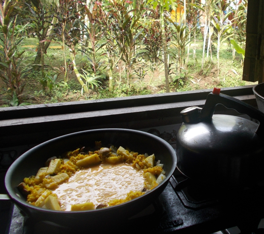 Breakfast view - A little melange of rice, pineapple, mushrooms and eggs